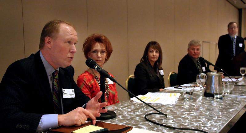 Guest panelists Kirk Turner, Cheri Decker, Debbie Rowland and Rob Martinek discuss the ethical concerns of love in the workplace at the Oklahoma Business Ethics Consortium panel discussion held in Tulsa.
