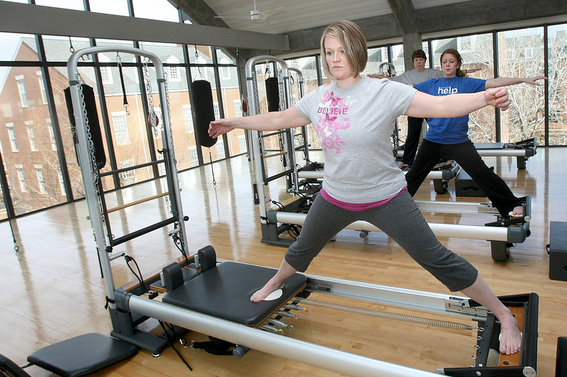 Melissa Costello takes a pilates class at the Chesapeake Wellness Center. PHOTO BY MAIKE SABOLICH