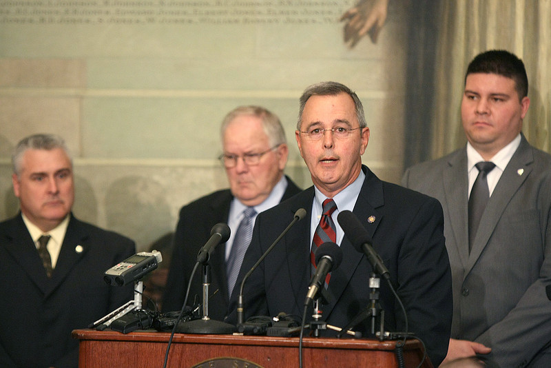 State Senate President Pro Tempore Brian Bingman talks about the Senate GOP's policy agenda for the 2011 legislative session at a news conferences on Wednesday at the state Capitol. PHOTO BY MAIKE SABOLICH