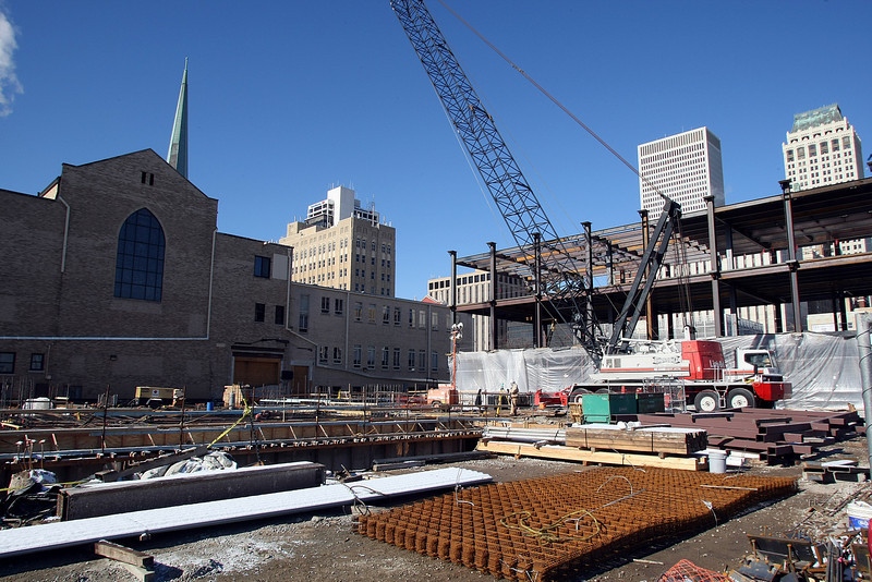 The Tulsa-based general contractor Flintco is raising a steel skeleton for a $36 million extension of First Presbyterian Church of Tulsa,
