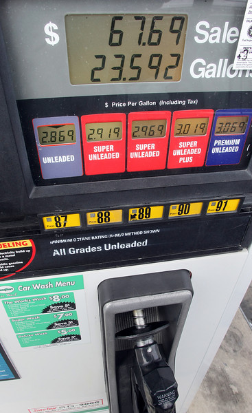 A gas pump shows the prices paid by Tulsa motorists to fill their vehicle. The price of gasoline at the pump has jumped 30 cents a gallon since November 30th.