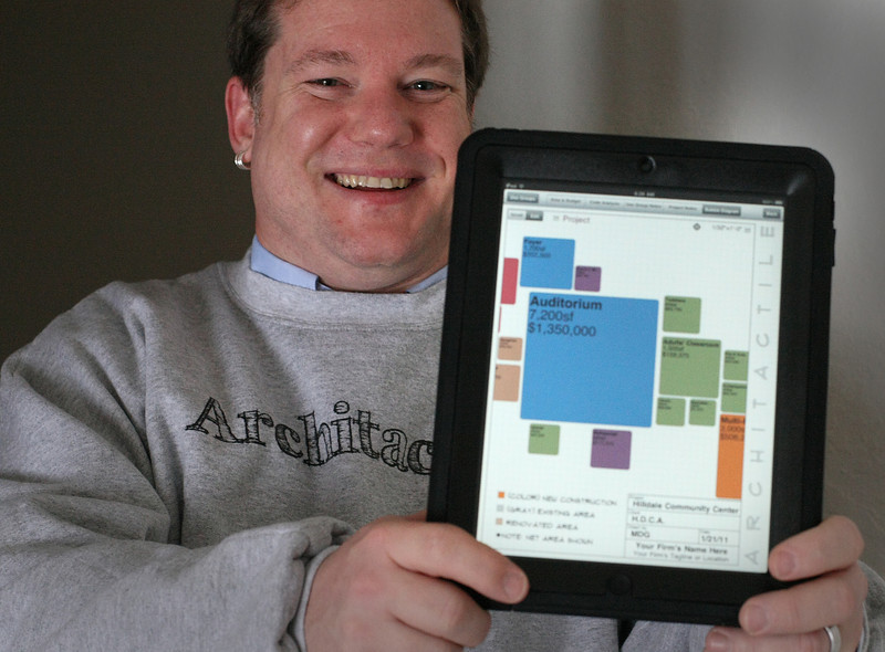 Matt Galloway shows a screen shot from a Architectural software application he's developed for the Apple Ipad.