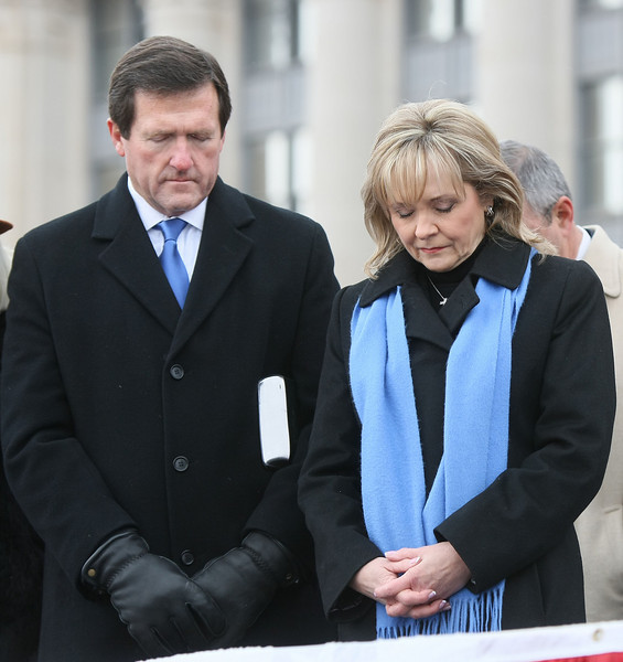 Wade Christensen and Governor Mary Fallin during the inaugruation ceremony at the State Capitol Monday. PHOTO BY MAIKE SABOLICH