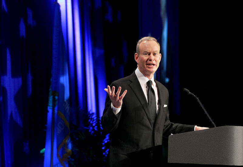 Mayor Mick Cornett gives the 2011 State of the City address Thursday at the Cox Convention Center. PHOTO BY MAIKE SABOLICH