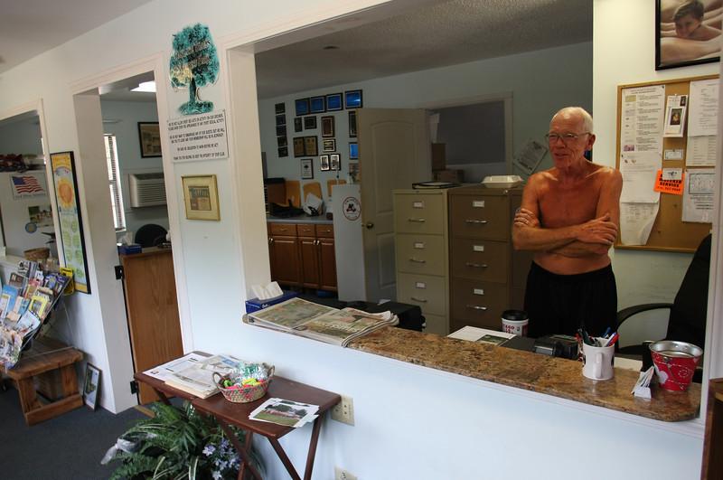 Dennis Duncan mans the front office at the Oak Lake Trails in Depew.