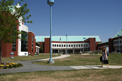 A student crosses the North Eastern Oklahoma  at Broken Arrow campus.