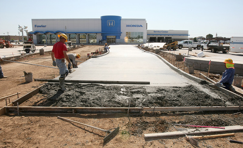 "Construction on the Fowler Honda dealership on the ""Mile of Cars"" in Norman Friday. PHOTO BY MAIKE SABOLICH"