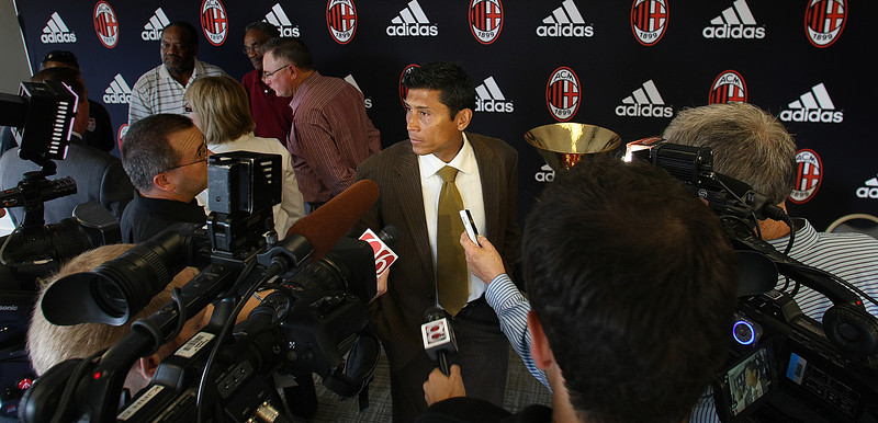 Eddie Marles, AC Milan Youth Program Coordinator for North and Latin America speaks with the media at a press conference announcing the creation of an international youth soccer tournament in Tulsa.