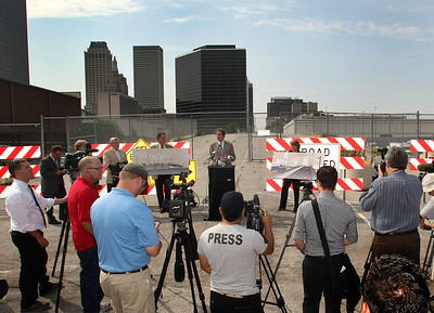 Tulsa Mayor Dewey F. Bartlett  is faces the press line during to announce construction is scheduled to begin in September on a new Boulder Avenue bridge spanning the downtown railroad tracks and linking downtown and the Brady Arts District.