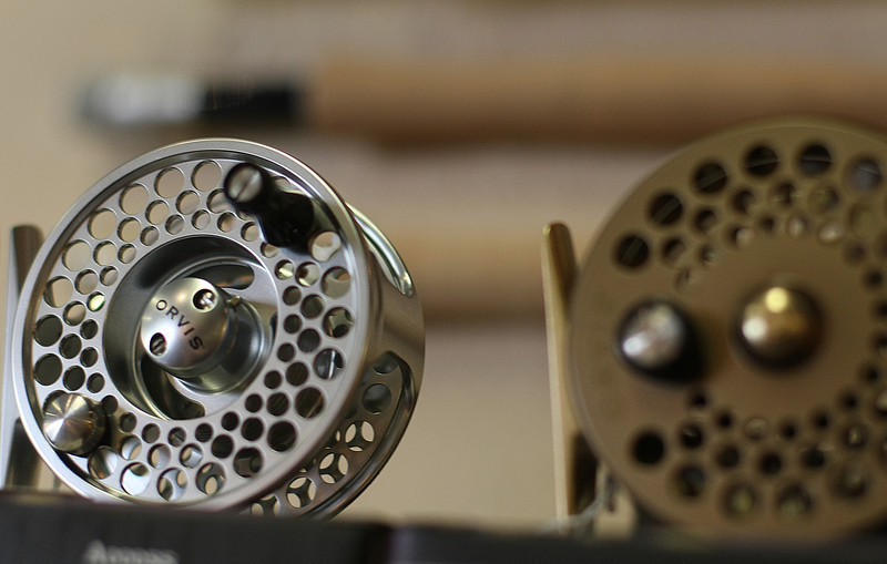 Orvis fly fishing reels on the shelves at the Gadget Shop in Tulsa.