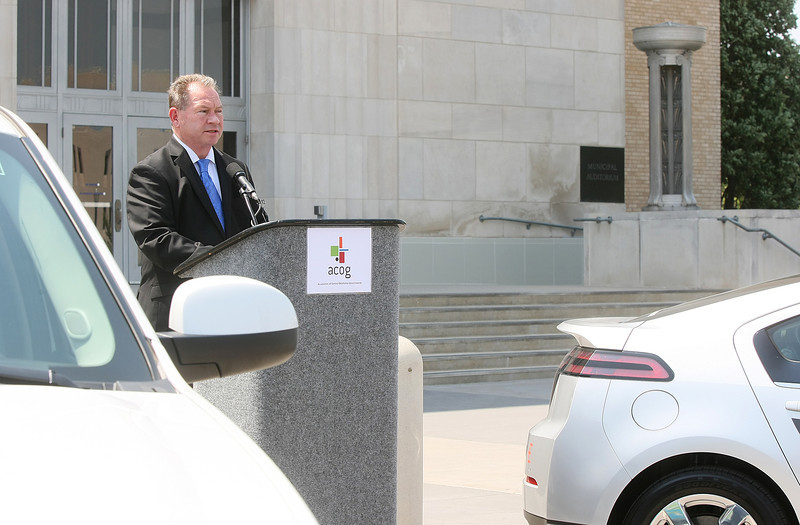 John Johnson, executive director of ACOG, speaks at a press conference announcing the search for a Central Oklahoma's Clean Air Ambassador to help educate the public on the importance of clean air Wednesday in front of the Civic Center. PHOTO BY MAIKE SABOLICH
