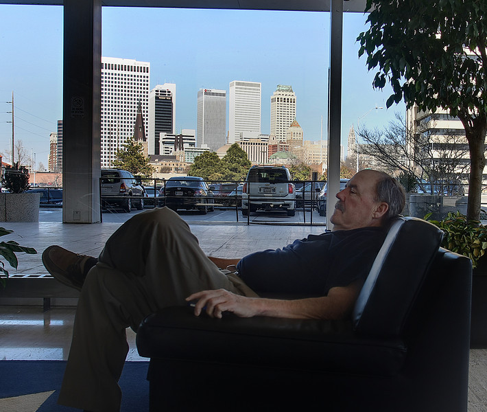 Dave Martin relaxes in the lobby of the International Building near downtown Tulsa.  Martin was taking a break from work.