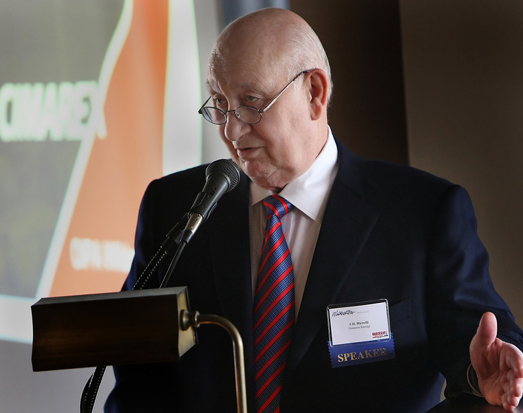 F.H. Merelli, CEo of Cimarex Energy Company, gives his presentation at the Oklahoma Independent Petroleum Association Wildcatters Luncheon in Tulsa.