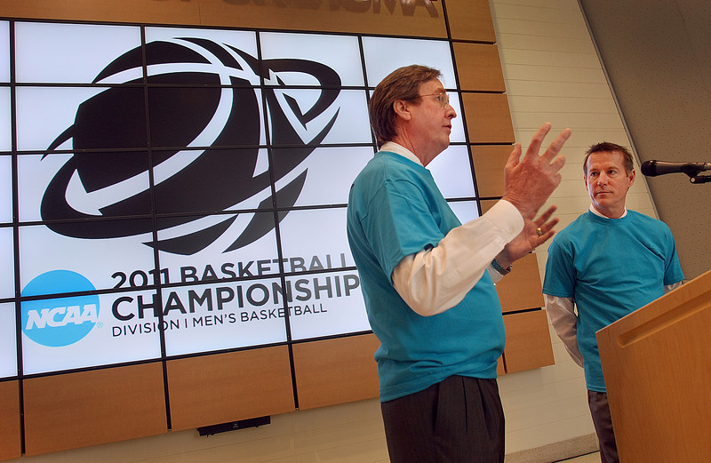 Mayor Dewey Bartlett and Tulsa Sport Commission Executive Director Ray Hoyt make a bet on the outcome of the NCAA Mens Basketball Tournament being hosted in Tulsa March 18 – 20.