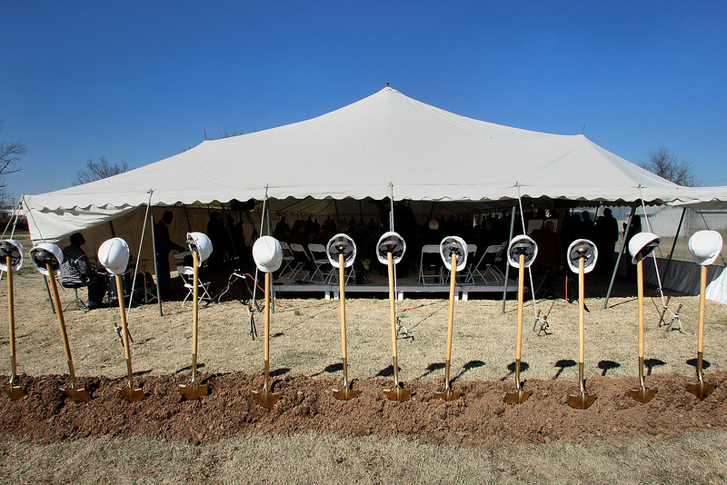 The shovels stand ready for the Greater Cornerstone Community Development Project ground breaking on a 20,698 square-foot community center.