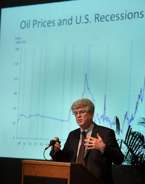 Stephen P.A. Brown, professor of Economics at the University of Las Vegas, gives his presentation of Assessing U.S. Oil Security as World Markets Change at the OPEC at 50 seminar held Wednesday at the University of Tulsa.
