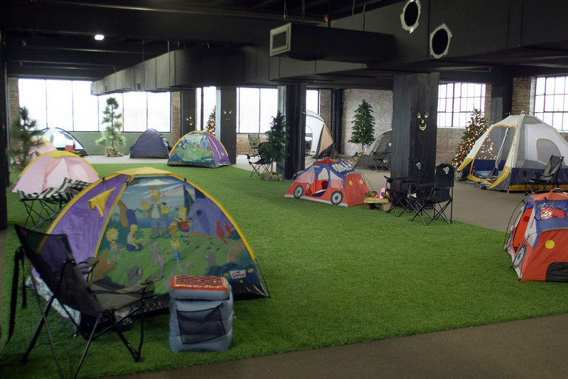 Some of the many tents set up at the Urban Campout in Tulsa