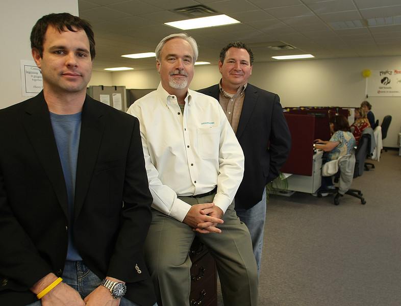 Matt Yeagerand, Phil Curtis and Charlie Pilkington at the Northstar call center in Tulsa.