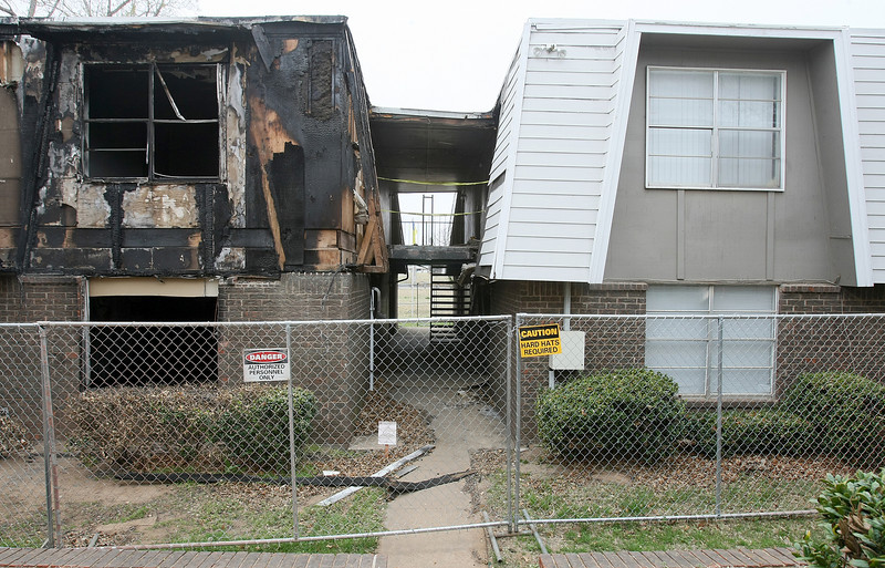 Site of lastr year's fire at Brooks apartments in Norman. PHOTO BY MAIKE SABOLICH