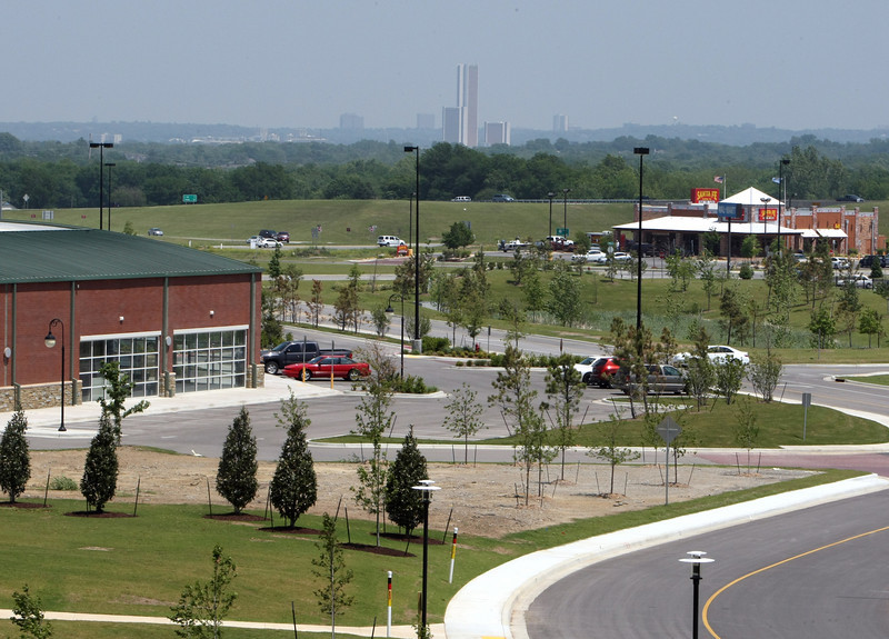 The view looking from the Glenpool Conference Center onto the 111th & HWY 75 intersection in Glenpool.  The area has recently been the site of retail development.