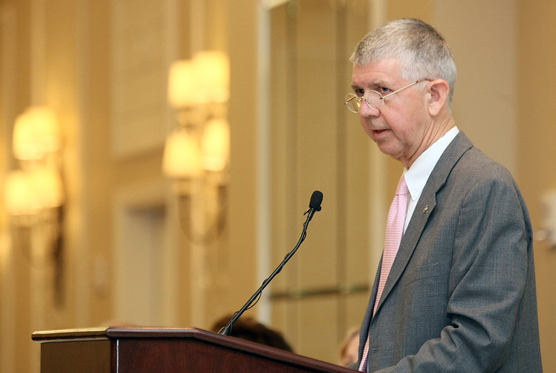 Oklahoma Supreme Court Chief Justice Steven Taylor asks the Leadership in Law 2011 audience to commit to lover justice rather than victory Monday at the Skirvin. PHOTO BY MAIKE SABOLICH