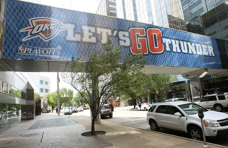 Overpass on Park Ave is decorated for the Oklahoma Thunder. PHOTO BY MAIKE SABOLICH