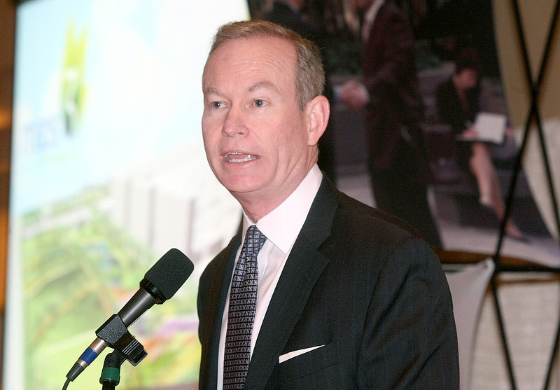 Mayor Mick Cornett addresses the MAPS3 progress Friday at the Sheraton downtown. PHOTO BY MAIKE SABOLICH