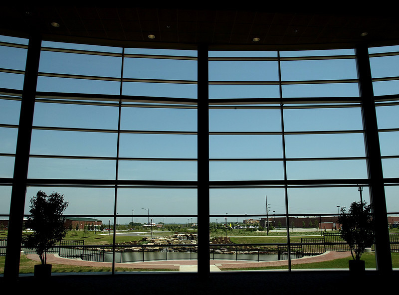 The view looking out the windows of the Glenpool Conference Center onto the 111th & HWY 75 intersection in Glenpool.  The area has recently been the site of retail development.