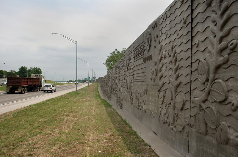 A recently completed sound barrier along the Creek Nation Turnpike in Tulsa.