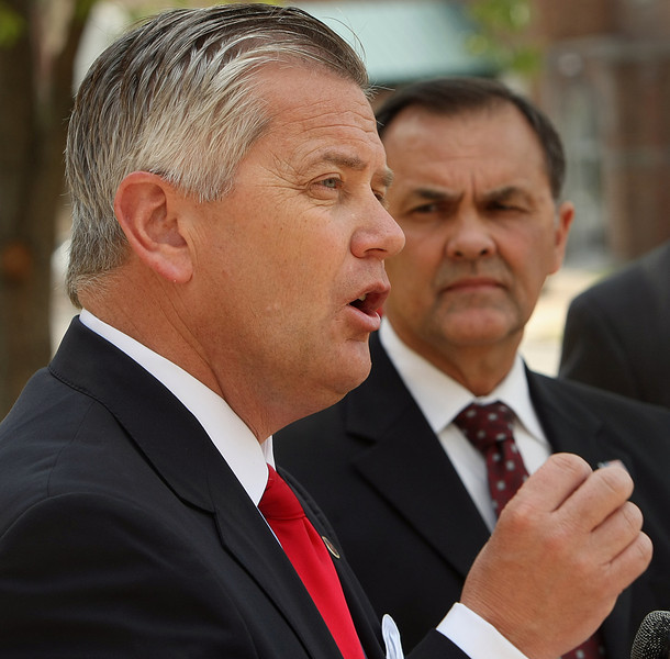 Oklahoma Insurance commissioner John Doak announces at a press conference that Ronald C. Schumacher, 62, a former funeral director from Bristow has been charged with three crimes in connection with his alleged mishandling of prepaid funeral funds.