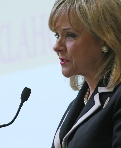 Governor Mary Fallin during her speech at the Broken Arrow Chamber of Commerces Luncheon Monday.