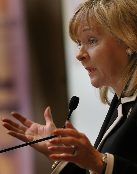 Governor Mary Fallin gestures during her speech at the Broken Arrow Chamber of Commerces Luncheon Monday.