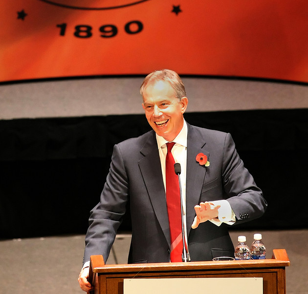 Tony Blair, former Prime Minister of Great Britain and Northern Ireland, speaks at the Oklahoma State University's Tulsa Business Forum Speaker Series Tuesday morning.
