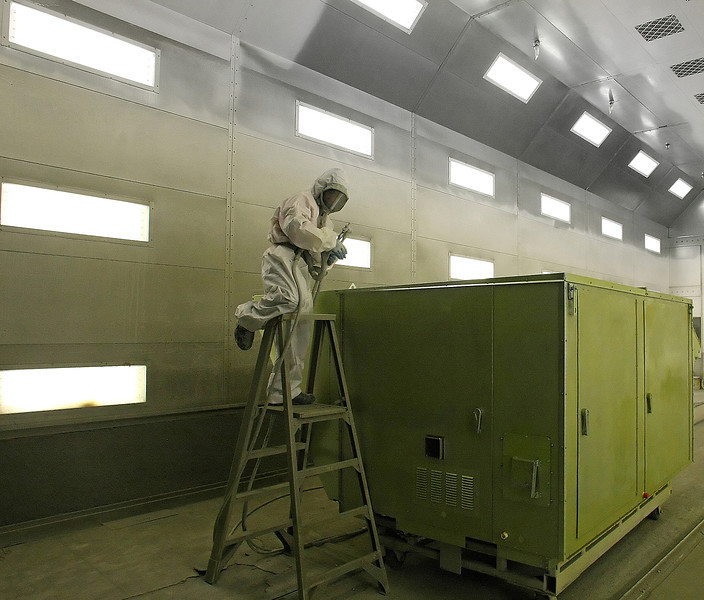 A Workman paint a finished Air-conditioner at the companys Tulsa Manufacturing facility.  AAON, Inc. announced its operating results for the third quarter and nine-month period ended September 30, 2011.