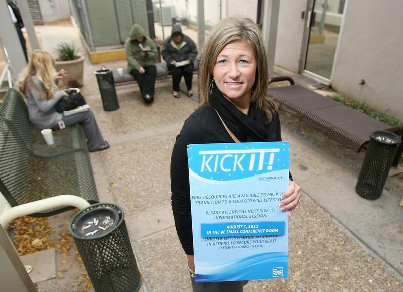 Brenda Maynard, customer service representative for American Fidelity Assurance Company, has quit smoking six months ago. PHOTO BY MAIKE SABOLICH