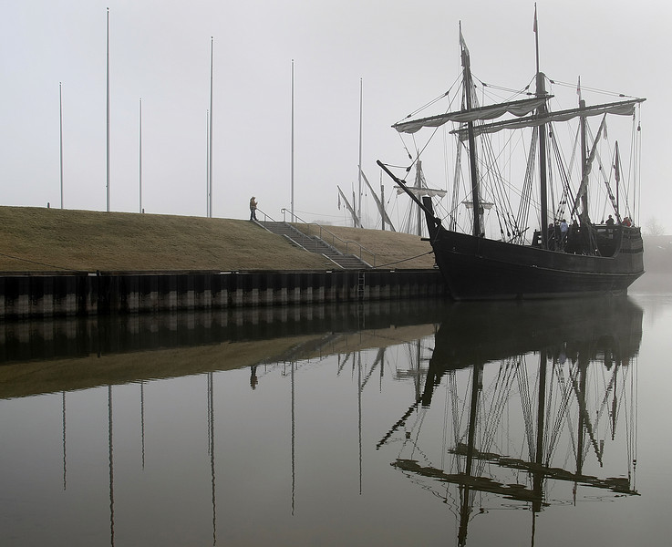 Columbus Replica Ship, the Pinta docked in the early morning fog at the Three Forks Harbor in Muskogee. The ship will stay through December 8th and is available to touring.