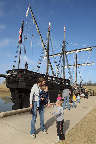 Columbus Replica Ship, the Pinta docked at the Three Forks Harbor in Muskogee. The ship will stay through December 8th and is available to touring.
