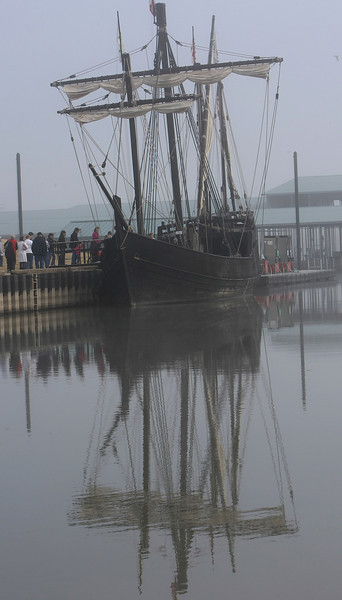 Columbus Replica Ship, the Nina docked in the early morning fog at the Three Forks Harbor in Muskogee. The ship will stay through December 8th and is available to touring.