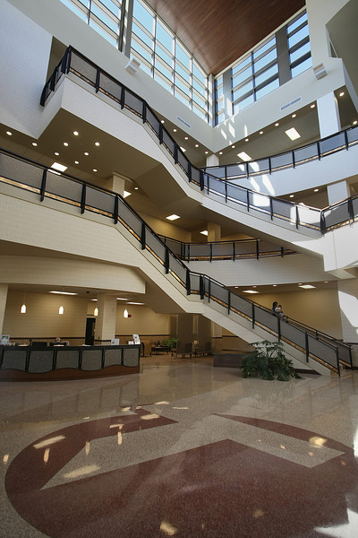 The main entrance and atrium of the Tulsa Tech Health Sciences Center in Tulsa.
