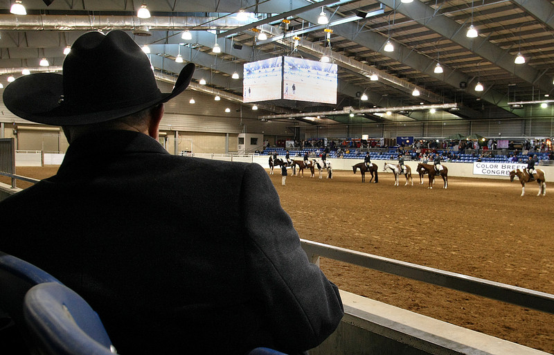 A spectator at the Color Breed Congress Pinto Horse show takes notes while watching the competition at the Tulsa Fairgrounds.  The horse show runs through Sunday.