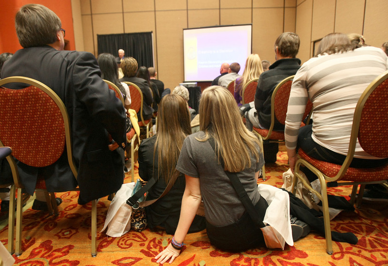 """People sat on the floors to attent Robert Sternberg's lecture """"Creativity is a Decision"""" during the Oklahoma Creativity Forum 2011 at the Embassy Suites Tuesday. PHOTO BY MAIKE SABOLICH"""