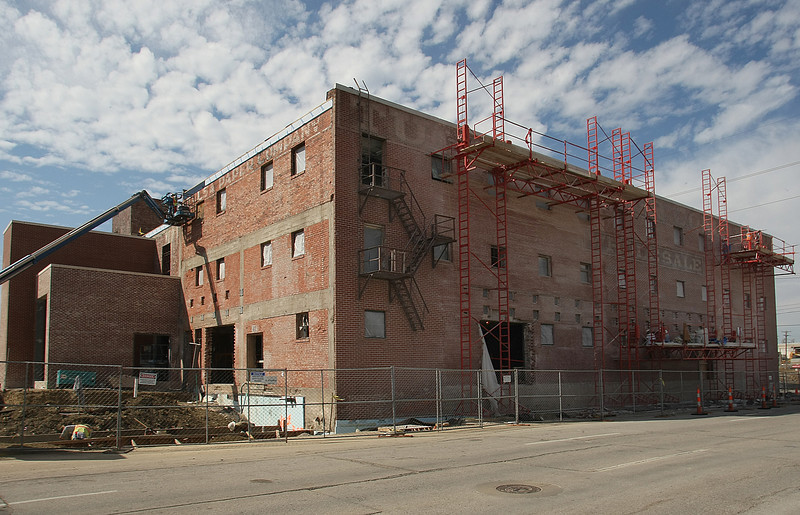 Manhattan Construction workers convert the Old Mathis auto parts warehouse into a Museum in downtown Tulsa.