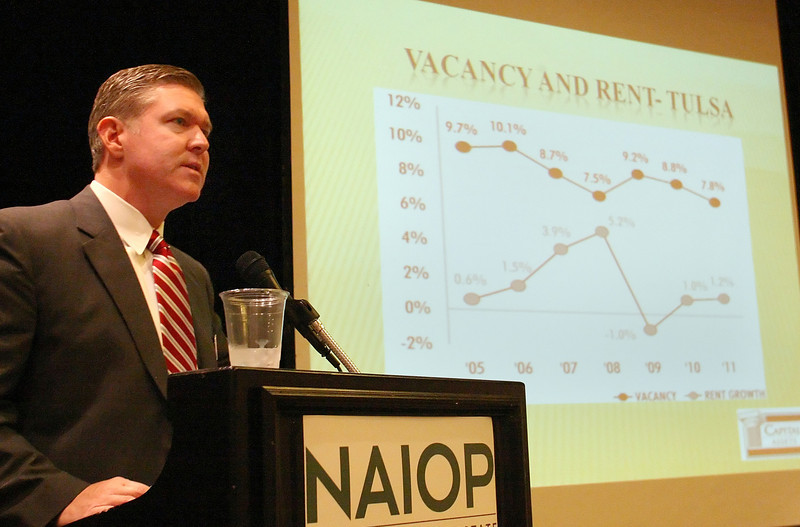 Greg Wright, President of Capital Assets, gives his presentation on the Multi-Family Market during the NAIOP Tulsa Trends Conference Thursday.