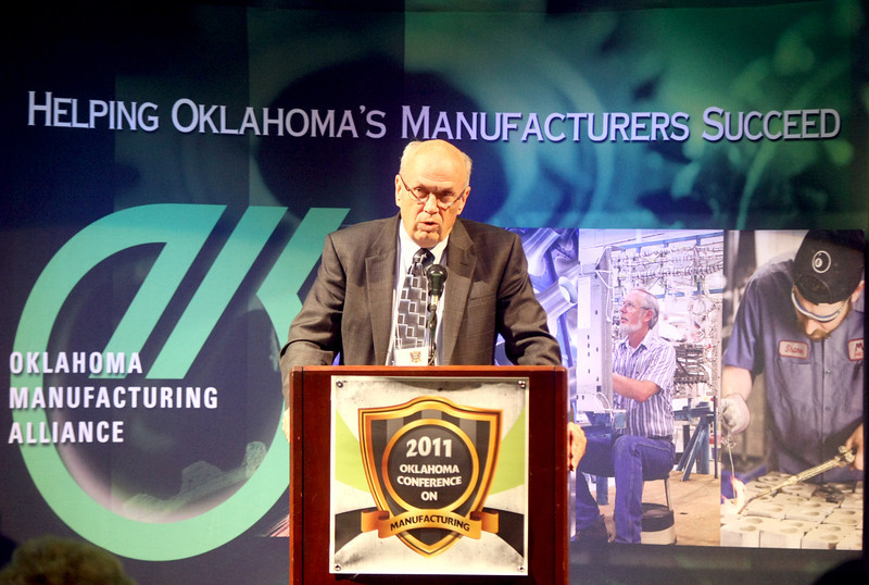 LaRoux K. Gillepsie speaks at the Oklahoma Manufacturing Alliance conference Wednesday at the Reed Center.  PHOTO BY MAIKE SABOLICH