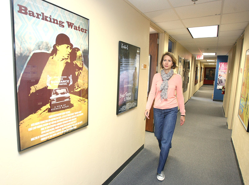 Jill Simpson, director of the Oklahoma Film and Music Office, in the office hallway Thursday. PHOTO BY MAIKE SABOLICH