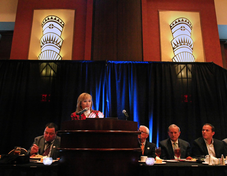 Governor Mary Falin speaks at the Oklahoma Governors Conference on Small Business Friday in Tulsa.