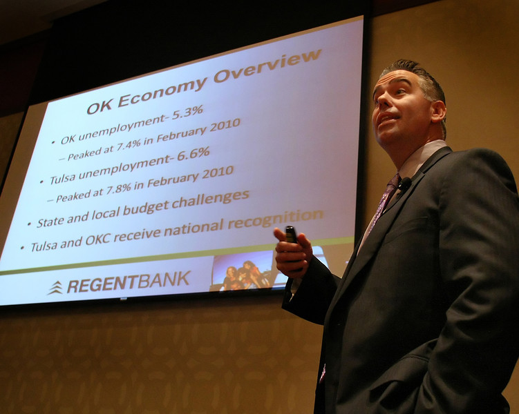 Sean Kouplen, President &CEO of Regent Bank in Tulsa, gives his presentation at the Oklahoma Governors Conference on Small Business Friday in Tulsa.