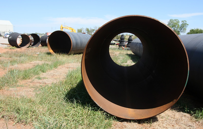 Water pipes at a construction site on SE 59th and Douglas Thursday. PHOTO BY MAIKE SABOLICH