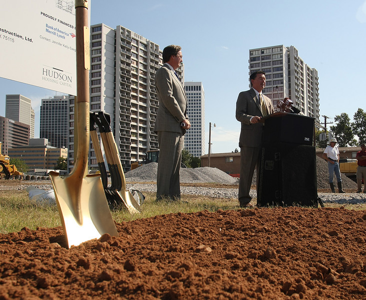 Tulsa Mayor Dewey Bartlett and Dale Lancaster, developer Quad States Companies announce the Riverbend Gardens Townhomes project at a press conference Tuesday.  The company will build 40 new two-bedroom townhouses on the downtown lot.