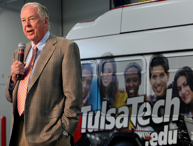 Boone Pickens speaks at the dedication of the Tulsa Tech Automotive, Robotics and Manufacturing campus in Broken Arrow.